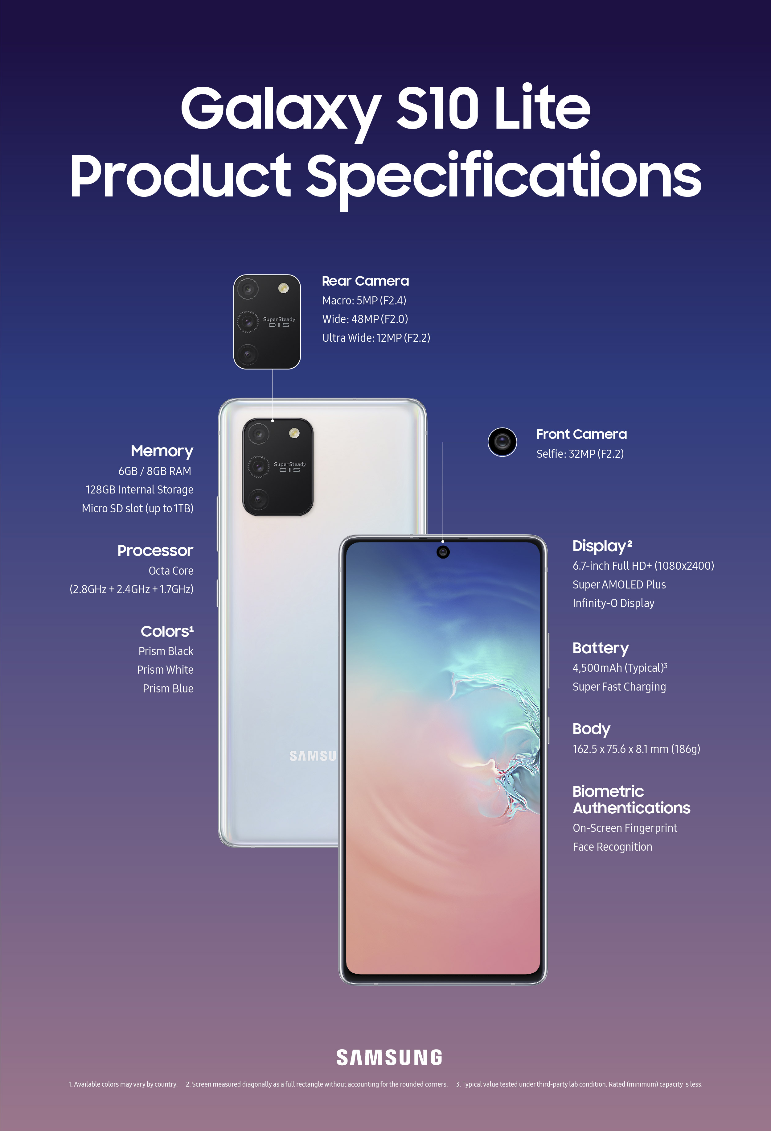 Galaxy S10Lite Product Specifications