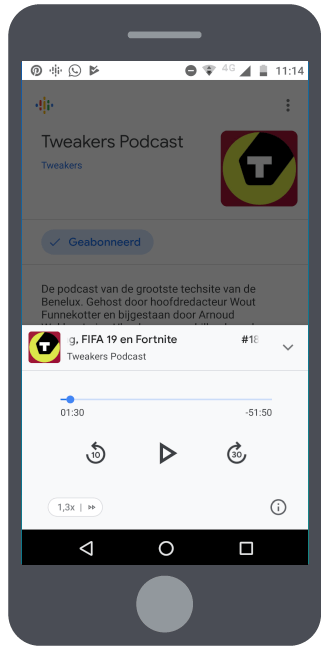 Google Podcasts staand cam