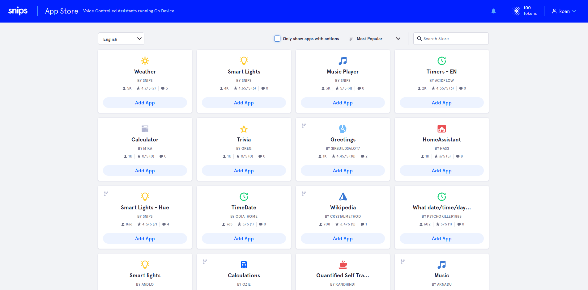 snips app store