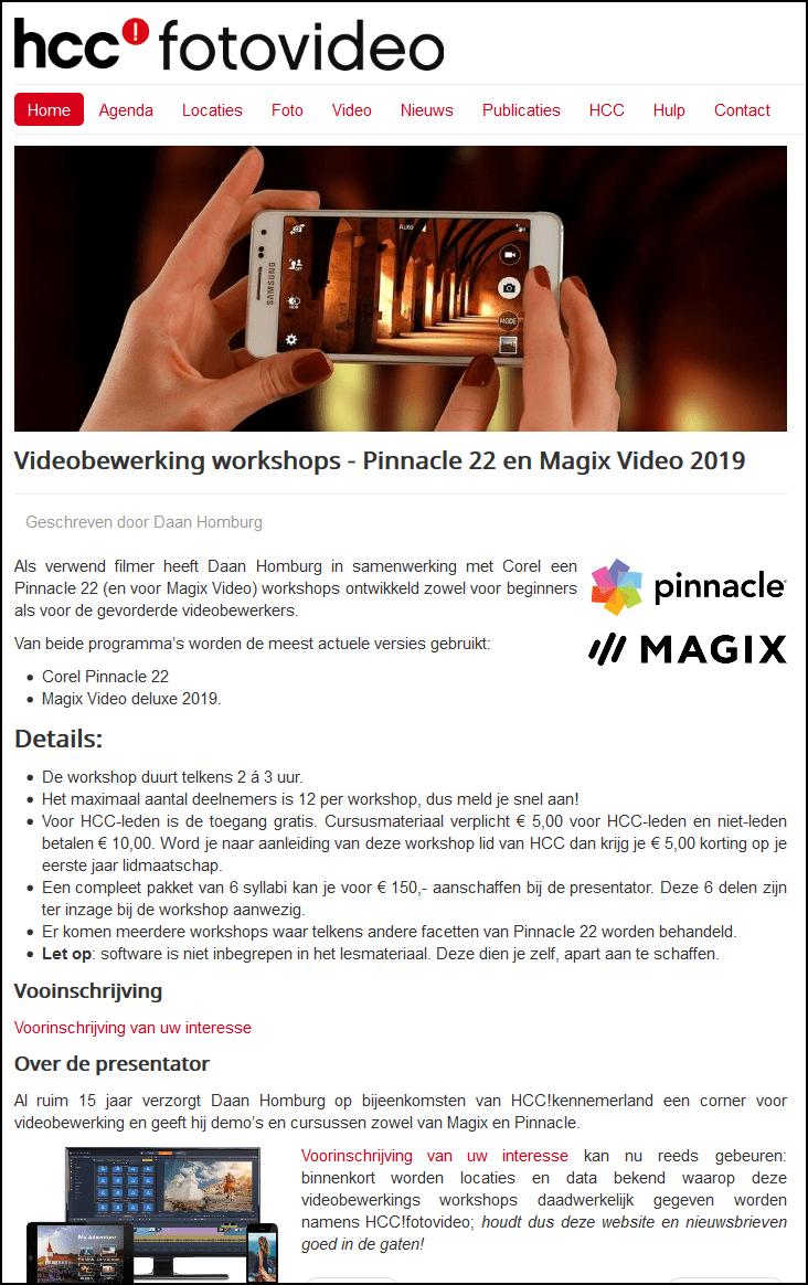 Screenshot 2019 07 08 HCC fotovideo Videobewerking workshops Pinnacle 22 en Magix Video 2019 2