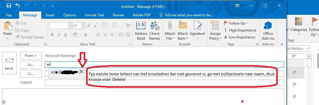 Fout emailadres verwijderen