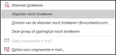 Opties voor ongewenste mail 2