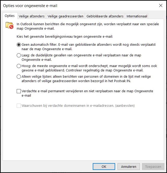 Outlook opties voor ongewenste mail 2