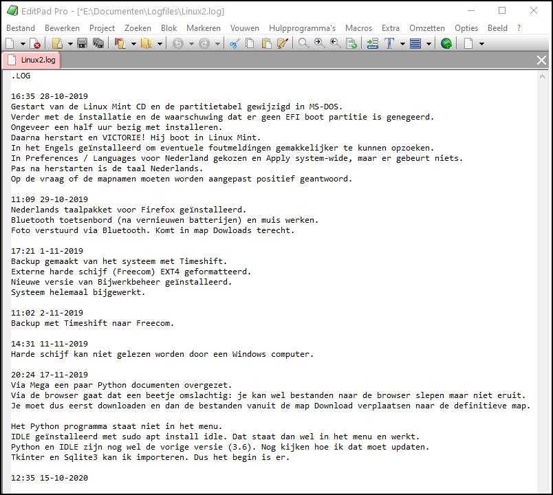 Extra beeld Linuxlog 2