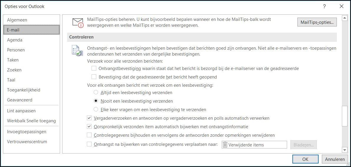 Opties mailbevestiging Outlook 2